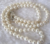 Luxury Box 9-10mm Baroque Silver Freshwater Pearl Necklaces Jewelry Set JN503