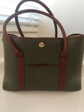 Stefano SERAPIAN Olive Green Rubber Brown Leather Tote Handbag Bag Shopper Gold