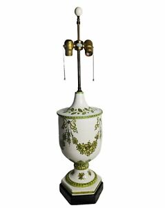 """Hand Painted Green Florals Bow Knots Ceramic ITALIAN Pottery 33"""" Urn Lamp"""