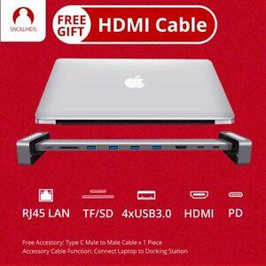 Snowkids Type C Docking Station Rack 10in1 USB C PD LAN RJ45 HDMI SD TF USB3.0