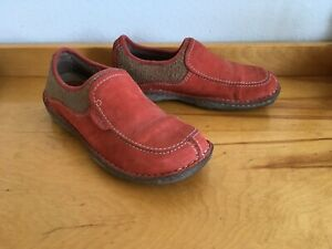 Simple Pedbed Comfort Wool Shoes Women's Size 9/40 Red Leather Slip On Pre Owned