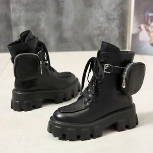 Motorcycle Boots PU Rubber Outsole Pocket Lace Up Thick Soled Black Woman Shoes