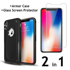 iPhone X Armor Case PC+TPU Air Cushion Tech and Glass Screen Protector  2 in 1