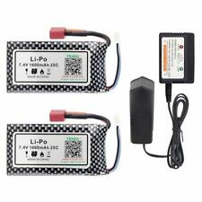 2Pcs Hosim 7.4V 1600mAh 25C Li-Po Battery Pack+Balance Charger for RC Car 9125