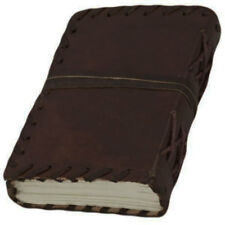 "NEW Brown Leather Journal w/ Cord 5"" Small Blank Book Sketchbook Handmade!"