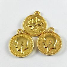 Gold Tone 16*16mm Round Coins Look Alloy Charms Pendant For Jewelry Making 10pcs