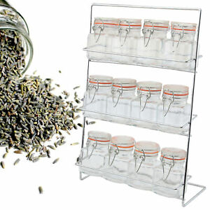 Apollo Set Of 12 Clip Top Spice Jars With Chrome Storage Rack Kitchen New
