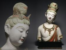 Japanese Old Colored Guanyin Statue / plaster / H 32.5 [ cm ]