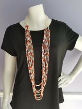 Long layered strand Necklace with Semi Precious Beads w/ silver hook closure