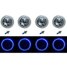 5-3/4 Halogen Blue LED Ring Halo Angel Eyes Headlight Headlamp Light Bulbs Set