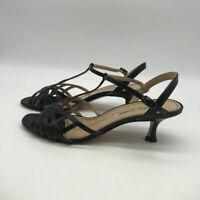 Manolo Blahnik Black T-Strap Heels Size 8