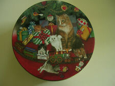 New listing Lot of 3 Christmas holiday Cookie Tin cats kittens train tree - Set of Sm Med Lg