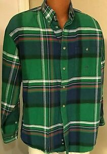 20X by Wrangler--Button Front--Green Plaid Shirt--XL(see measurements)
