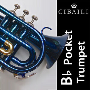 Blue CIBAILI Pocket Trumpet • Highest Quality Bb • Brand New • Great Quality •