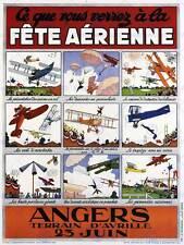 EXHIBITION AIR SHOW AIRPLANE AEROPLANE FRANCE BIPLANE VINTAGE AD POSTER 1651PY