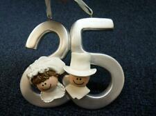 25th Silver Wedding Anniversary Christmas Ornament NEW (h1030)