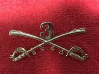 US ARMY 3RD CAVALRY CROSSED SABERS LARGE HAT PIN SUITABLE FOR A STETSON HAT