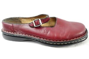 BORN Red Leather Loafers Flats Shoes Comfort Casual Slides Buckle Womens 6 36.5