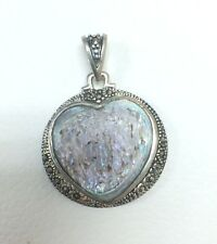 Sterling Silver Heart Shape with Marcasite Gemstone Pendant