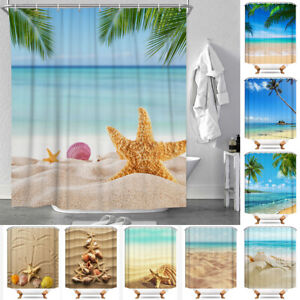 Sea Beach Shell Waterproof Polyester Bathroom Shower Curtain With Free 12 Hooks