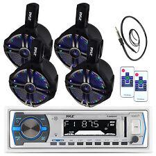"4 Pyle Marine 6.5"" Wake Board LED Speakers, Pyle USB Bluetooth AUX Radio,Antenna"