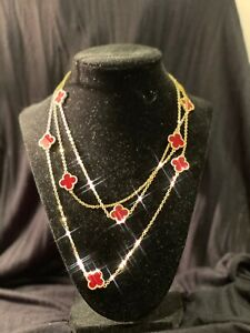 Van Cleef Accessory ,Long Necklace, 10 motif ,25 inches long, Burgundy color