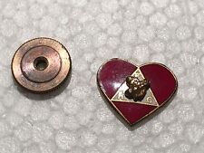 BPOE ELKS FRATERNAL ORG  LAPEL SCREW BACK HEART PIN   WITH BACK