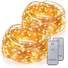 2x 20ft 120 LEDs Battery Operated Mini LED Copper Wire String Fairy Lights