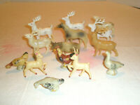 Vintage 14 Pc Figurines Celluloid Plastic Animals Deer Cow Horse Fowl