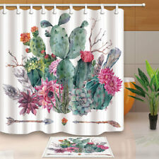 Boho style Cactus and arrows Shower Curtain Bathroom Waterproof Fabric & 12hooks
