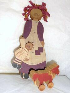 Primitive Folk Art Wood Doll w/ Pony Americana