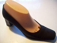 Stuart Weitzman Black Fabric Heels Pumps Patent Back Shoes Size 7.5 AA Narrow