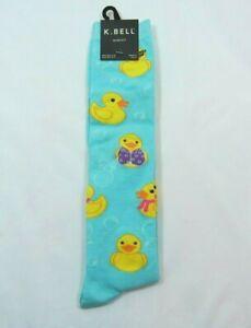 Women's Yellow Duck Ducky Jewel Knee High K Bell Sock Sz 9-11 Cotton Blend