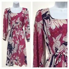 Vintage 60s 70s White Pink Navy Floral Go Go Mini Day Dress 12 14 M