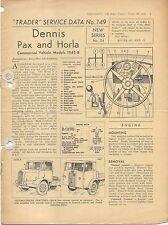 Dennis Pax & Horla Commercials 1945-48 Motor Trader Service Data No. 149 1948