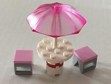 *NEW* Lego Minifig Friends TRANS DARK PINK UMBRELLA Patio Set PINK Stools