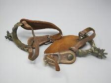 """Vintage Western Cowboy Spurs Leather & Brass Lion Motif Button 9"""""""