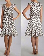 COAST VERONA FRILL SPOT BLACK WHITE SILK MIX 50'S WRAP DRESS 14 TWICE £160