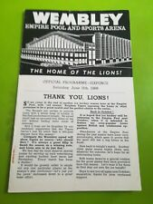 Ice hockey sports programme. Wembley lions v Brighton tigers. 11.6.1966