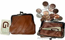 Lot of 2 New Women's Leather Change Purse Coin bag Wallet bag Hand Coin case BN