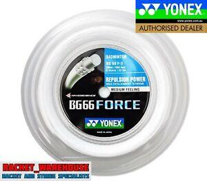 YONEX BG66 FORCE 200M COIL BADMINTON STRING WHITE COLOUR LEE CHONG WEI'S STRING
