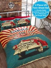 RETRO GARAGE UK SINGLE / US TWIN UNFILLED DUVET COVER AND PILLOWCASE SET NEW