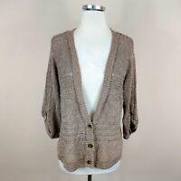 J Jill Cotton Blend Loose Knit Cardigan Sweater 3/4 Sleeve V-Neck M Medium