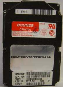 """CONNER - CFN170A 170MB 2.5"""" 19MM Tall IDE 44 pin Hard Drive Tested Good"""
