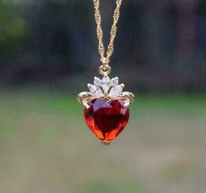 "2CT Heart Cut Red Ruby Diamond Pendant Necklace 14k Yellow Gold Finish 18"" Chain"
