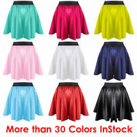 Women Mini Skirt Girl Satin Short Dress Pleated Retro Elastic Waist 27 Colors