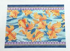 Golden Koi Goldfish handpainted LG. Needlepoint Canvas by A.Lawford *RETIRED*