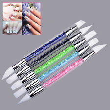 5 IN 1 Silicone Dual Head Nail Art Brushes Acrylic Pen Craft Carving Powder Tool