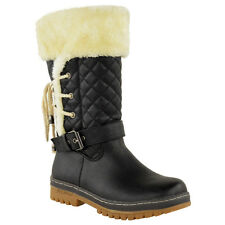 Womens Ladies Flat Mid Calf Winter Snow Fur Lined Ankle BOOTS Grip Sole Size
