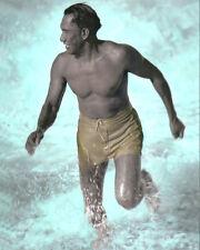 """DUKE KAHANAMOKU SURF LEGEND HONOLULU OAHU HAWAII 8x10"""" HAND COLOR TINTED PHOTO"""